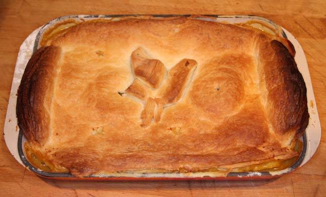 Chicken and mushroom pie, British recipe