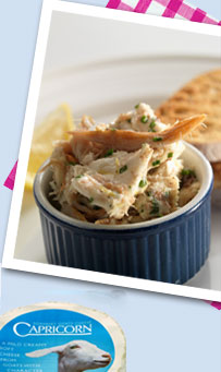 Potted smoked mackerel with Capricorn goats' cheese and chives