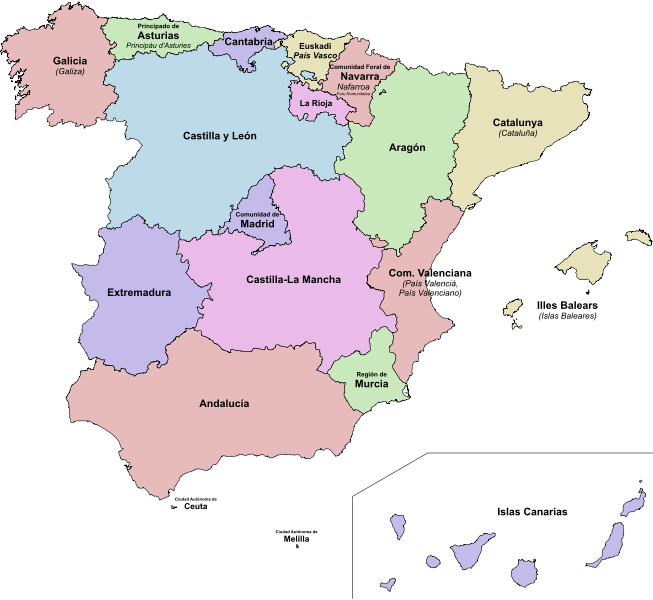 File:Autonomous communities of Spain.png