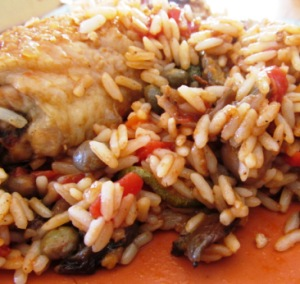 Tex's Chicken with Pigeon Peas n Rice
