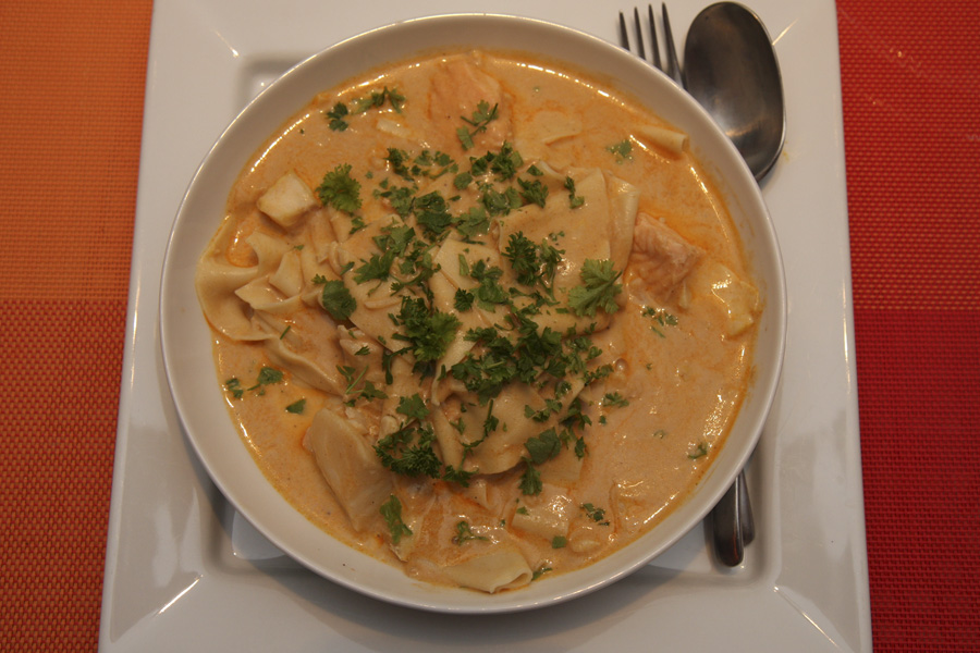 Fish chunks in lobster sauce with pasta recipe