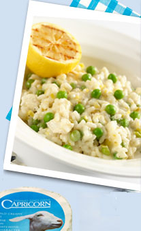 Lemon, garden peas and Capricorn goats' cheese risotto