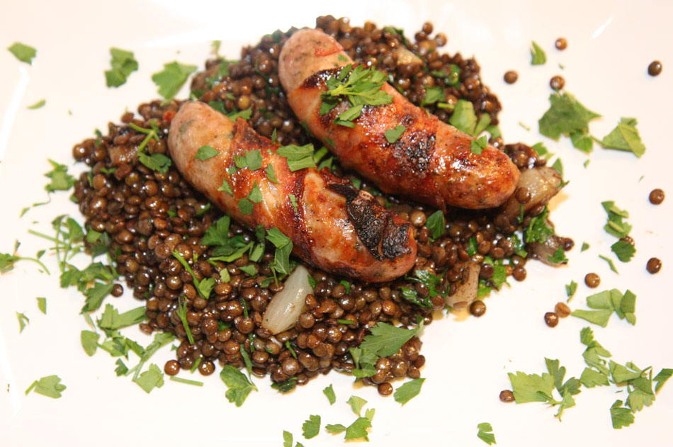Lentils and cumberland pork sausages pair well recipe