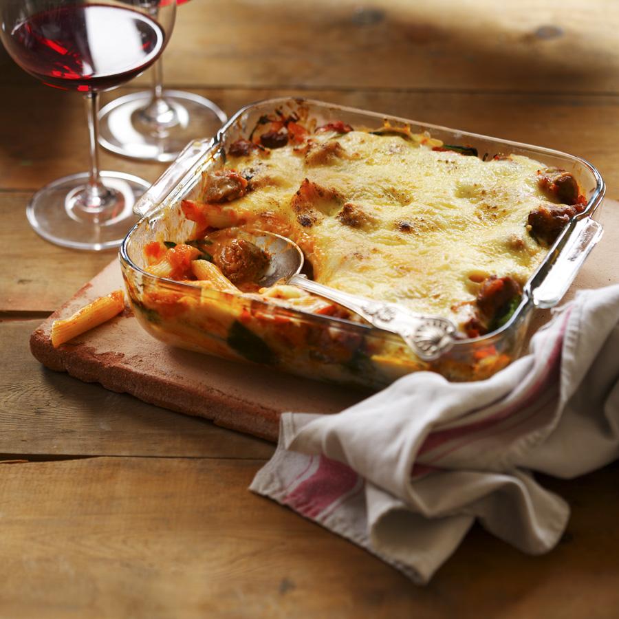 Gluten free sausage and spinach pasta bake