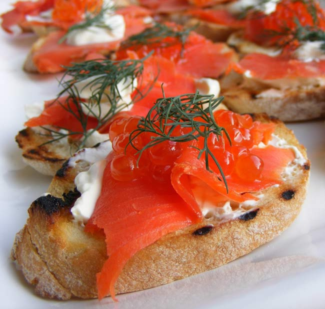 Smoked salmon and lemon creme fraiche crostini an italian for Italian canape ideas