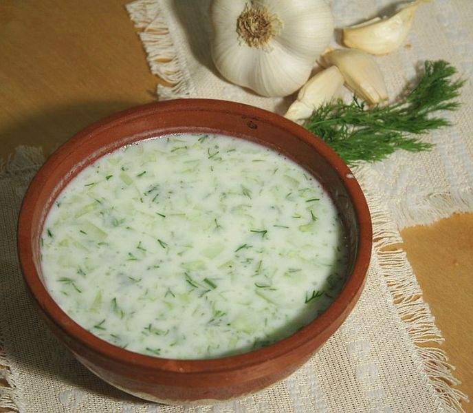 Chilled yogurt and cucumber soup tarator Vegetarian recipe