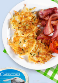 Crispy Capricorn potato fritters with bacon an egg recipe