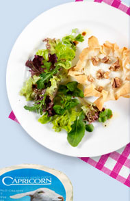 Capricorn goats' cheese and walnut filo parcels