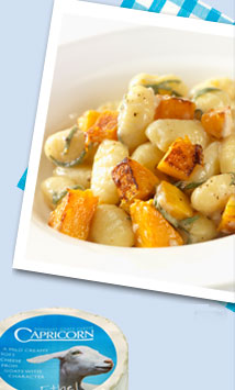 Roasted butternut squash and Capricorn goats' cheese gnocchi