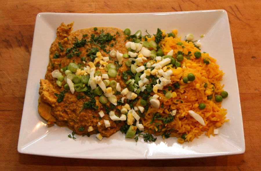 Chicken with pumpkins seeds and peanut butter, chili recipe