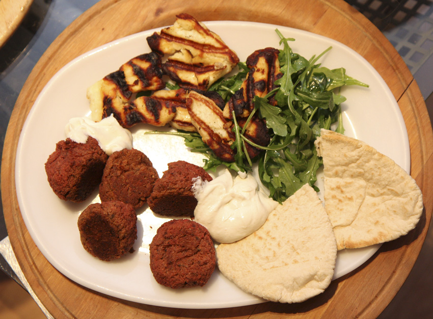 Beetroot falafel with toasted halloumi cheese recipe