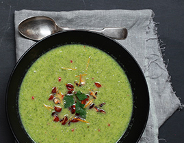 Broccoli, chilli, orange Soup