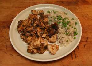 Hoisin chicken with mushrooms and walnuts
