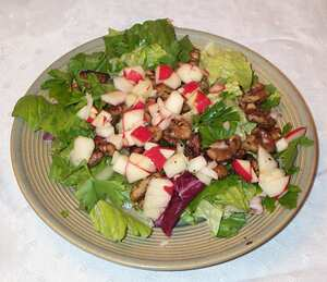Apple and walnut salad with Somerset Camembert dressing