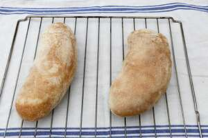 Ciabatta loaves (breadmaker dough, oven bake)