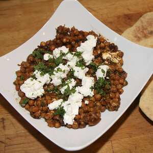 Chickpea salad with red onions goats cheese and paprika
