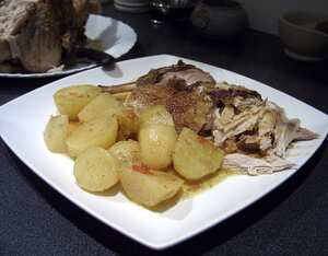 Pot-roast Guinea fowl