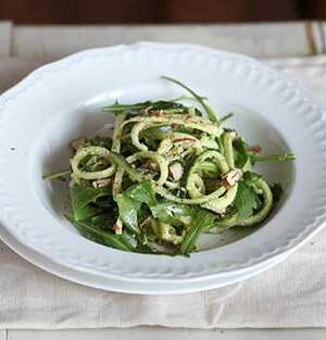 Courgette pasta with almond pesto and rocket