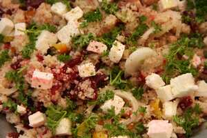 Barley Couscous, Beetroot and Feta Salad