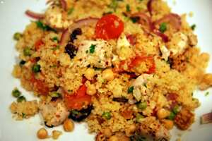 Chilli chicken with chickpea couscous