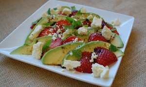 Avocado and Strawberry Salad with Dragon Caerphilly cheese