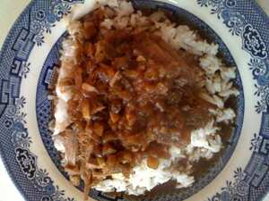 Beef, brown gravy and rice