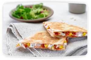 Philadelphia chicken and sweetcorn quesadillas
