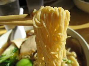 Noodles with ginger and spring onions