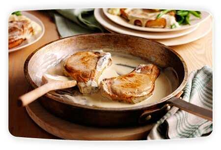 pork chops with philly mustard sauce Pork chops with a creamy Philadelphia mustard sauce