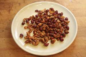 Red, hot, smoky peanuts and cashews