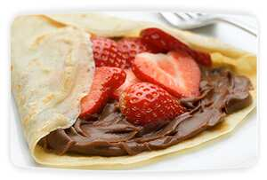 Philadelphia chocolate and strawberry pancakes