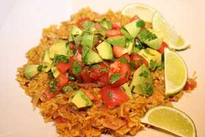 Red lentil kedgeree with avocado and tomato