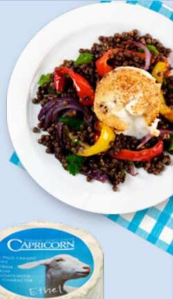 Sesame crusted Capricorn on warm Puy lentils and roasted peppers
