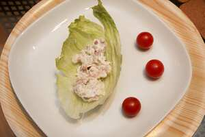 Creamy seafood in lettuce wraps
