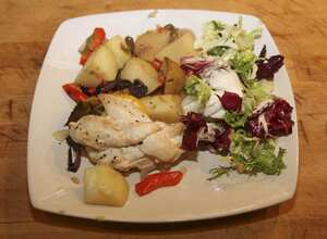 Lemon and bay leaf chicken with new potatoes
