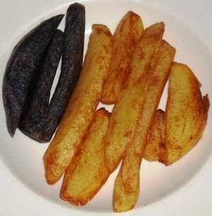 Thrice cooked chipped potatoes a British recipe
