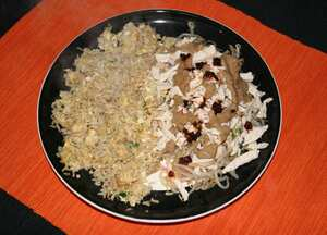 Chicken with cold tossed bean sprouts