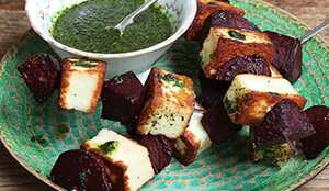 Skewiff beetroot and halloumi