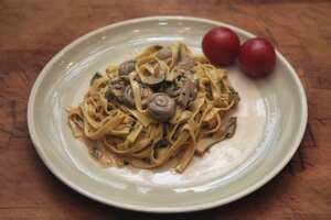 Tagliatelle with mixed mushrooms in a creamy sauce