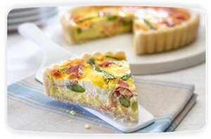 Philadelphia asparagus and parma ham quiche
