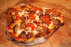 New York-style stone baked pizza
