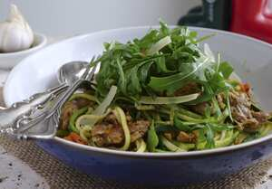 Sausage, fennel and chilli courgetti