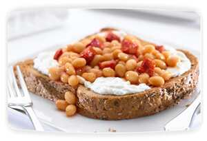 Philadelphia cheese, beans and chorizo on toast
