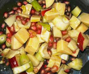 Cheese, apple and pomegranate salad
