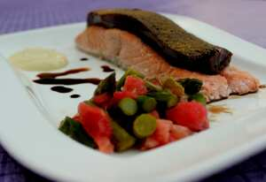 Poached salmon with liquorice (TM)