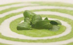 Cream of rooster potato and watercress soup