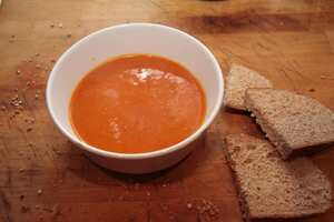 Roasted squash, red pepper and sweet potato soup