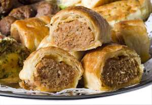 Sage and onion sausage rolls