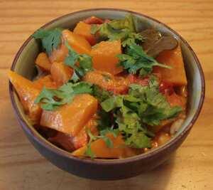Glazed pumpkin in coconut milk an Indian recipe