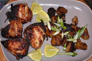 Barbecued lime and chili chicken wings